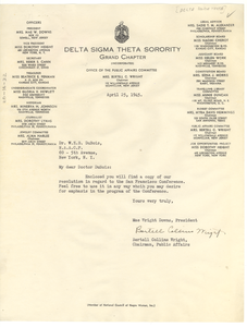 Letter from Delta Sigma Theta Sorority to W. E. B. Du Bois