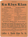 Flier issued by the Cullen A. Battle Klan in Tuskegee, Alabama, listing the issues the Ku Klux Klan stands for and against.