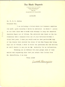 Letter from Roscoe Dunjee to W. E. B. Du Bois