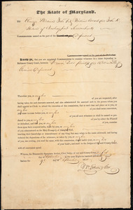 Appointment of Ebenezer Steadman, John Fitz, William Woart, and John R. Hudson, as commissioners by the Maryland Circuit Court, [Baltimore, Maryland], 1830 September 9