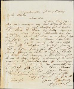 A. J. McElveen, Sumterville, S.C., autograph letter signed to Ziba B. Oakes, 4 December 1854