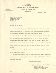 Letter from Ambrose Caliver to W. E. B. Du Bois