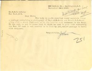 Letter from J. Heart to W. E. B. Du Bois