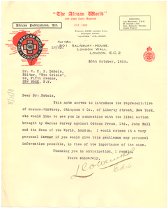 Letter from Leo Weinthal to W. E. B. Du Bois