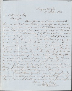 F. C. Barber, Augusta, Ga., autograph letter signed to Ziba B. Oakes, 11 September 1854