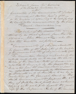Extracts from the journal of the debates, resolutions, etc. of the convention of the commonwealth of Massachusetts