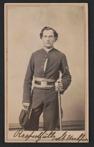 [Lieutenant Andrew Nuhfer of Cos. A, G, and K, 9th Michigan Infantry Regiment in uniform with sword]