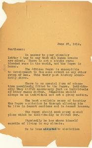 Letter from W. E. B. Du Bois to Medical Standard