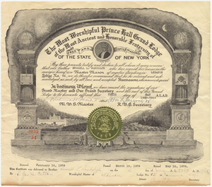 Prince Hall Master Mason certificate issued to Russell L. Randolph, 1962 May 10