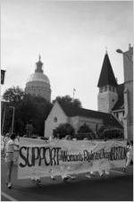 Pro-choice marchers near the Georgia State Capitol building, Atlanta, Georgia, August 23, 1980