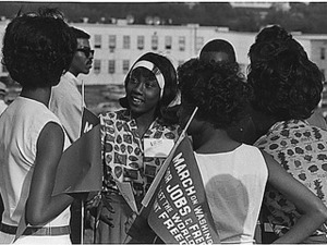 Civil Rights March on Washington, D.C. [A group of young women at the march], 08/28/1963