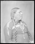 Side view of Roan Chief, chief of the Pitahauerat and Pawnee. U. S. Indian School 1904