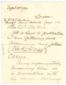 Letter from Amanda Ira Aldridge to W. E. B. Du Bois