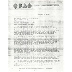 Letter, Superintendent Spillane, December 1, 1981.