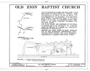 Old Zion Baptist Church, U.S. Route 29, North Garden, Albemarle County, VA