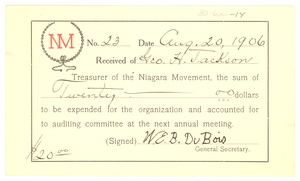 Niagara Movement Receipt No. 23