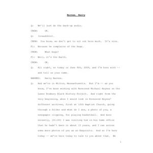 Interview with Harry Barnes, June 8, 2009 [transcript]