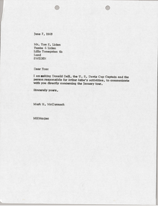 Letter from Mark H. McCormack to Tom E. Liden