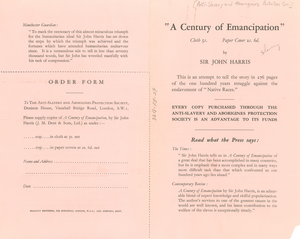 A Century of Emancipation leaflet and order form