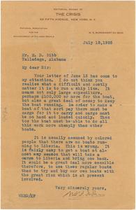 Letter from M. D. Bibb to W. E. B. Du Bois
