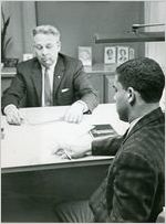 Hamilton Holmes, one of the first two African-American students to integrate the University of Georgia, shown in Office of the Registrar (Walter N. Danner), Athens, Georgia, January 1961