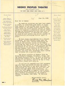 Circular letter from Negro Peoples Theatre