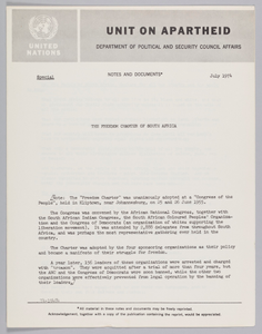 Notes from the United Nations on the Freedom Charter of South Africa