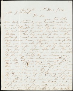 A. J. McElveen, Sumterville, S.C., autograph letter signed to Ziba B. Oakes, 1 December 1854
