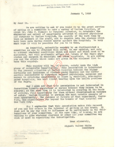 Circular letter from National Association for the Advancement of Colored People to Committee on Survey of Harlem Hospital