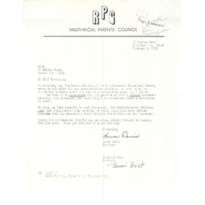Letter, CItywide Parents' Advisory Council co-chairs, February 2, 1981.