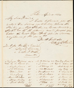 Letter from Charles Lenox Remond, Salem, [Massachusetts], to William Lloyd Garrison, Samuel E. Sewall, and Eleazer Mather Porter, 1834 April 10