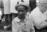 Elderly African American woman at a rest stop on the March Against Fear, possibly near Senatobia, Mississippi.