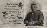 "Card showing an image of Booker T. Washington and a quote by him on ""useful living."""