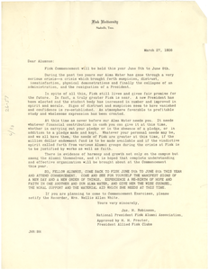 Circular letter from Fisk University Alumni Association to W. E. B. Du Bois
