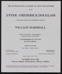 Program: Enter - Frederick Douglass Enter Frederick Douglass - William Marshall