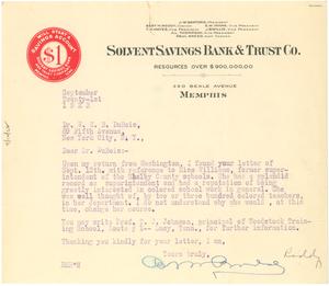 Letter from Bert M. Roddy to W. E. B. Du Bois