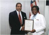 Clara Adams-Ender receives certificate, circa 1998