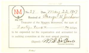 Thumbnail for Niagara Movement Receipt No. 27