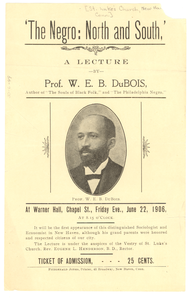 Advertisement for 'the Negro: north and south, a lecture'