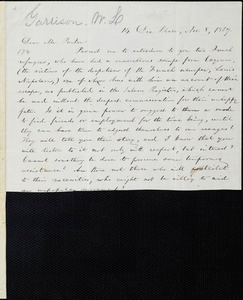 Incomplete letter from William Lloyd Garrison, 14 Dix Place, [Boston, Mass.], to Theodore Parker, Nov. 8, 1857