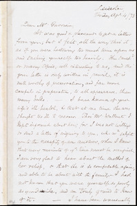 Letter from Samuel May, Jr., Leicester, [Mass.], to William Lloyd Garrison, Apri[il] 4 / [18]73