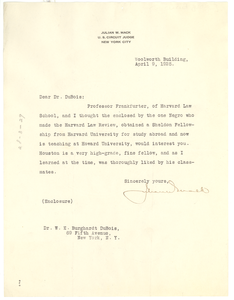 Letter from Julian W. Mack to W. E. B. Du Bois