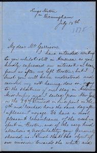 Letter from Jane E. Metford, Birmingham, [England], to William Lloyd Garrison, July 15th [1878]