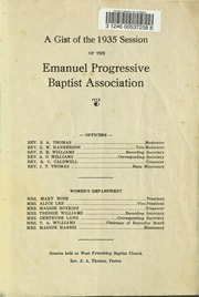 A Gist of the 1935 Session of the Emanuel Progressive Baptist Association