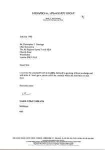 Letter from Mark H. McCormack to Christopher J. Gorringe