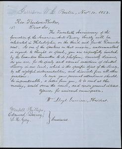 Letter from William Lloyd Garrison, Boston, [Mass.], to Theodore Parker, Nov. 10, 1853