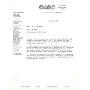 Memo, court order of 21, 1978