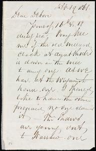 Letter from Richard Warren Weston, [New York?], to Deborah Weston, Feb. 19, 1861