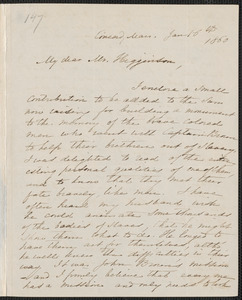 Mary Tyler Peabody Mann autograph letter signed to Thomas Wentworth Higginson, Concord, 16 January 1860