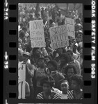 African Americans in protest march against Signal Hill police in death of Ron Settles in Long Beach, Calif., 1981